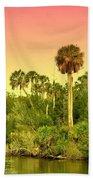 Palms In Twilight Beach Towel
