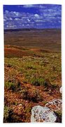 Panoramic View Of Fossil Butte Nm Valley Beach Towel