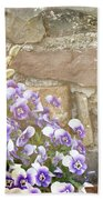 Pansies And Pussywillows Beach Towel