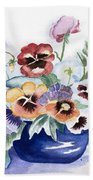 Pansies In Blue Pot Beach Towel