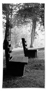 Park Bench In Black And White Beach Towel