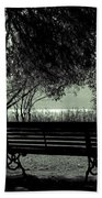 Park Benches In Autumn Beach Towel