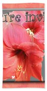 Party Invitation - Amaryllis Flowers Beach Towel