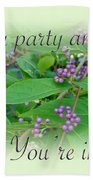 Party Invitation - General - American Beautyberry Shrub Beach Towel by Mother Nature