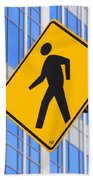 Pedestrian Crosswalk Sign In Business District Beach Towel by Gary Whitton
