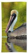 Pelican On A Golden Pond Beach Towel