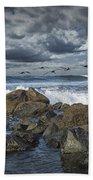 Pelicans Over The Surf On Coronado Beach Towel