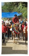 People On Horseback And On Foot Making The Climb To The Vaishno Devi Shrine In India Beach Towel