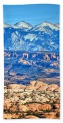 Petrified Dunes And La Sal Mountains Beach Towel