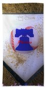 Phillies Home Plate Beach Towel by Bill Cannon