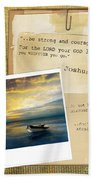 Photo Of Boat On The Sea With Bible Verse Beach Towel