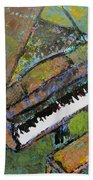 Piano Aqua Wall - Cropped Beach Towel by Anita Burgermeister