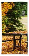 Picnic Table With Autumn Leaves Beach Towel by Elena Elisseeva
