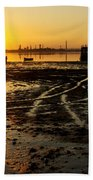 Pier At Sunset Beach Towel by Carlos Caetano