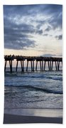 Pier In The Evening Beach Towel by Sandy Keeton