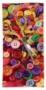 Pile Of Buttons With Scissors  Beach Towel