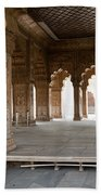 Pillars Of Building Inside Red Fort Beach Towel