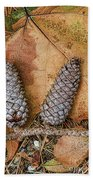 Pine Cones And Leaves Beach Towel