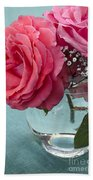 Pink And Aqua Roses Beach Towel