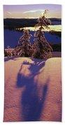 Pink And Purple Sunrise Shadows Of Snow Beach Towel