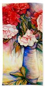 Pink And Red Peony Roses In A Tall Blue Porcelain Vase Beach Towel