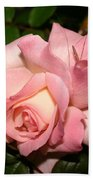 Pink And White Rose Beach Towel