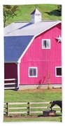 Pink Barn In The Summer Beach Towel