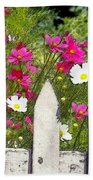 Pink Cosmos Flowers And White Picket Fence Beach Towel