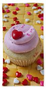 Pink Cupcake With Candy Hearts Beach Towel