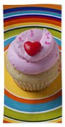 Pink Cupcake With Red Heart Beach Towel
