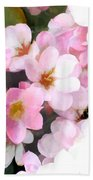 Pink Flowers With Bee Beach Towel