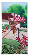 Pink Geranium Sketchbook Project Down My Street Beach Towel