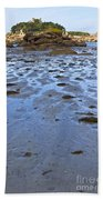 Pink Granite Island In Low Tide Beach Towel