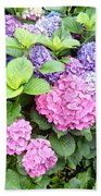 Pink Purple Hydrangeas Beach Towel