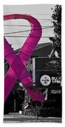 Pink Ribbon For Breast Cancer Awareness Beach Sheet