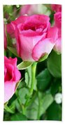 Pink Roses And Gypsophila Bouquet Beach Towel