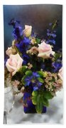 Pink Roses And Purple Delphinium Beach Towel