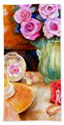 Pink Roses In A Green Vase With A String Of Pearls And A Pretty Summer Straw Hat  Beach Towel