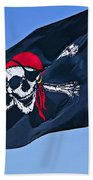 Pirate Flag Skull With Red Scarf Beach Towel