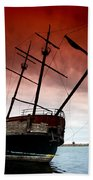 Pirate Ship 2 Beach Towel by Cale Best