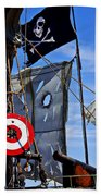 Pirate Ship With Target Beach Towel by Garry Gay