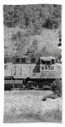 Pirates And Trains Black And White Beach Towel