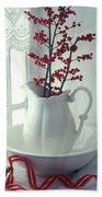 Pitcher With Red Berries  Beach Towel