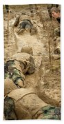Plebes Navigate The Low Crawl Obstacle Beach Towel
