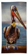 Plump Peter Pelican's Pier Photo Pose Beach Towel