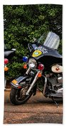 Police Motorcycles Beach Towel by Paul Ward