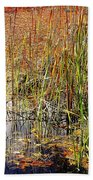 Pond And Rushes Beach Towel