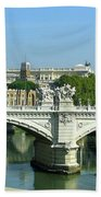 Ponte Sant'angelo In Rome Beach Towel