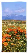 Poppies Over The Mountain Beach Towel