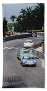 Porsches At Monte Carlo Casino Square Beach Towel by John Bowers